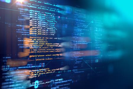 Programowanie kodu streszczenie technologia tło programisty i skrypt komputerowy