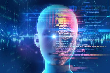 Detección de rostros y reconocimiento de ilustración digital humana en 3D. Concepto de visión por computadora e inteligencia artificial e identificación biométrica facial.