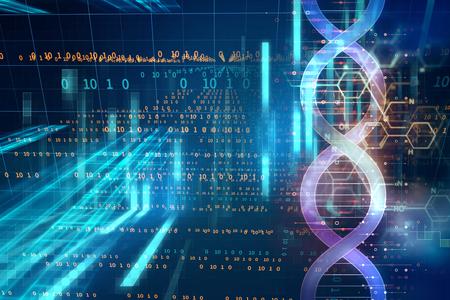 Moléculas de ADN sobre fondo de tecnología abstracta, concepto de bioquímica y teoría genética. Foto de archivo