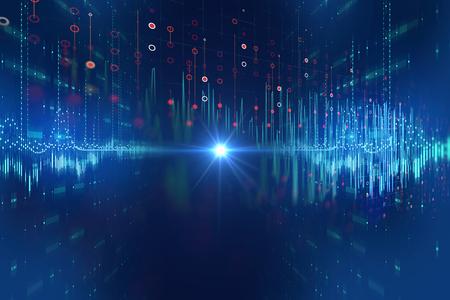 Fond de technologie abstraite de forme d'onde audio colorée, représente la technologie d'égaliseur numérique