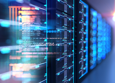 3D illustration of server room in data center full of telecommunication equipment,concept of big data storage and  cloud computing technology. Reklamní fotografie