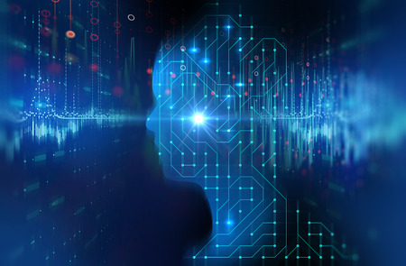 silhouette of virtual human on circuit pattern 3d illustration  , represent artificial technology.