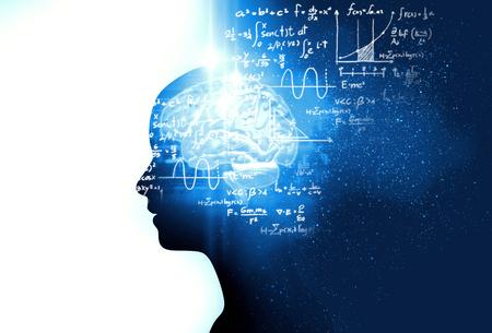 Silhouette des virtuellen Menschen auf handgeschriebenen Gleichungen 3d Illustration, stellen künstliche Technologie und Kreativitätserziehung dar.