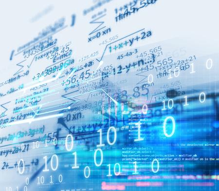 abstrakter Hintergrund der Wissenschaftsformel und der mathematischen Gleichung. Konzept des maschinellen Lernens und der künstlichen Intelligenz.