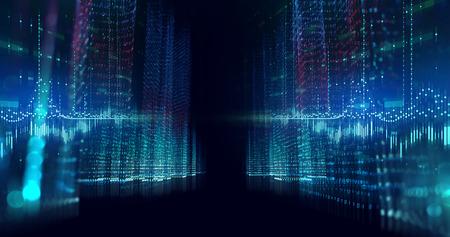 Paisaje de ciudad digital con ilustración de elementos numéricos de dígitos, concepto de ciudad inteligente y transformación digital