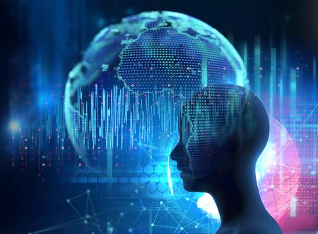 La silueta del ser humano virtual en la ilustración 3d de la forma de onda delta del cerebro, representa la meditación y la terapia del sueño profundo.
