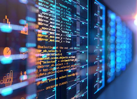 3D-Darstellung des Serverraums im Rechenzentrum voller Telekommunikationsgeräte, Konzept der Big-Data-Speicherung und Cloud-Computing-Technologie.
