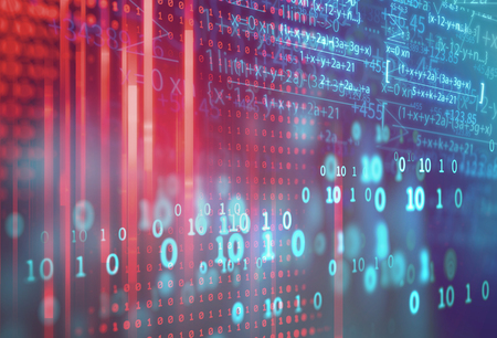 Wissenschaftsformel und mathematische Gleichung abstrakten Hintergrund. Konzept des maschinellen Lernens und der künstlichen Intelligenz.