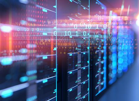 Ilustracja 3D serwerowni w centrum danych pełnym sprzętu telekomunikacyjnego, koncepcji przechowywania dużych danych i technologii przetwarzania w chmurze.