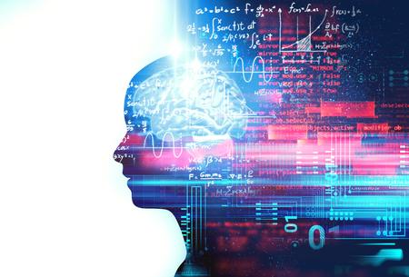 la siluetta dell'essere umano virtuale sull'illustrazione 3d delle equazioni scritte a mano, rappresenta la tecnologia artificiale e l'educazione alla creatività. Archivio Fotografico