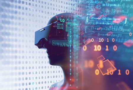 3D-Rendering des virtuellen Menschen in VR-Headset auf futuristischer Technologie und Programmiersprachenhintergrund repräsentieren Virtual-Reality-Technologie. Standard-Bild