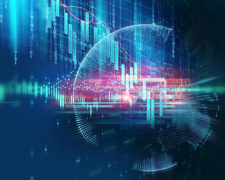 illustrazione del grafico del mercato azionario finanziario, concetto di investimento aziendale e trading azionario futuro. Archivio Fotografico