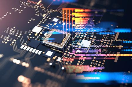 3d rendering futuristic blue circuit board background illustration Standard-Bild - 118033821