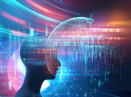 Silhouette des virtuellen Menschen auf Gehirn-Delta-Wellenform 3D-Darstellung, Meditation und Tiefschlaftherapie.