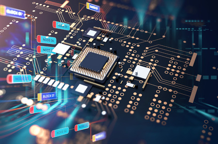 3d rendering futuristic blue circuit board background illustration Standard-Bild - 118035100