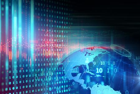 El icono de fintech sobre fondo abstracto de tecnología financiera representa Blockchain y el concepto de tecnología financiera de Internet de inversión Fintech.