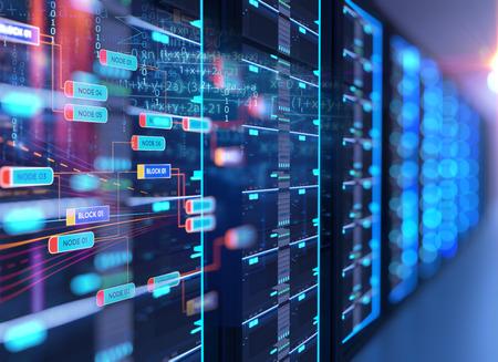 Ilustración 3D de la sala de servidores en el centro de datos lleno de equipos de telecomunicaciones, concepto de almacenamiento de big data y tecnología de computación en la nube.