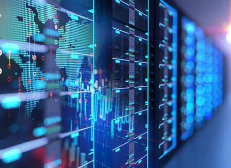 Illustrazione 3D della sala server nel centro dati pieno di apparecchiature di telecomunicazione, concetto di archiviazione di big data e tecnologia di cloud computing.