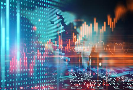Gráfico de la bolsa financiera sobre fondo abstracto de tecnología