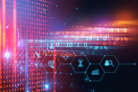El icono de fintech sobre fondo abstracto de tecnología financiera representa Blockchain y el concepto de tecnología financiera de Internet de inversión Fintech. Foto de archivo