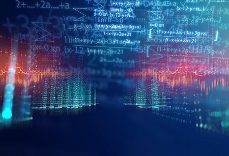Wissenschaftsformel und mathematische Gleichung abstrakten Hintergrund. Konzept des maschinellen Lernens und der künstlichen Intelligenz. Standard-Bild