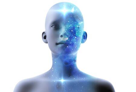 silhouette of virtual human with aura chakras on space nebula , represent meditation,yoga and deep sleep therapy.