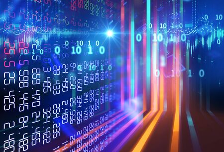 3D-Rendering des technischen Finanzdiagramms auf dem Börsenanzeigefeld Standard-Bild