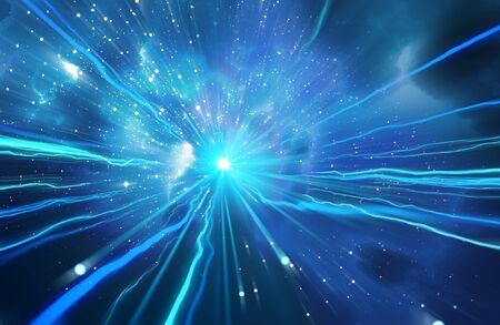 Lichtgeschwindigkeits-Zoom-Reise im Universum und Milchstraße Sterne Retro-Stil 3D-Darstellung. Standard-Bild