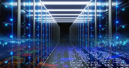 3D illustration of server room in data center full of telecommunication equipment,concept of big data storage and  cloud computing technology.