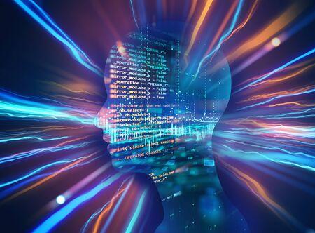 la siluetta dell'essere umano virtuale sull'illustrazione 3d di tecnologia astratta, rappresenta la tecnologia artificiale. Archivio Fotografico