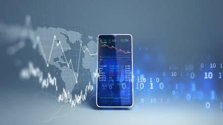 Gráfico financiero y elemento tecnológico en el teléfono móvil. Representación 3D de Blockchain e inversión financiera móvil.