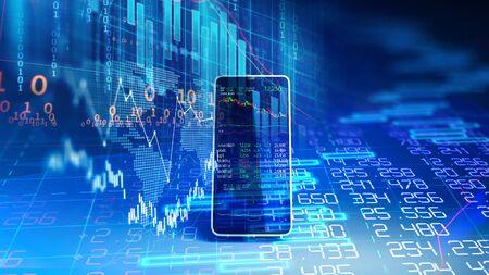 le graphique financier et l'élément technologique sur le rendu 3d du téléphone mobile représentent la blockchain et l'investissement financier mobile.