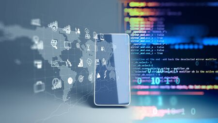 fintech icon and technology element on mobile phone 3d rendering represent Blockchain and Fintech Investment Financial Internet Technology Concept. Banque d'images