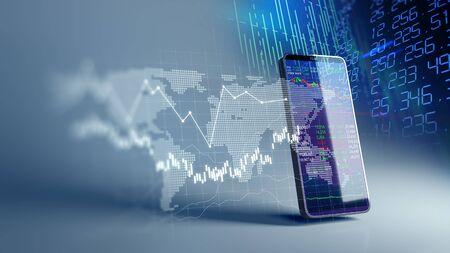 Gráfico financiero y elemento tecnológico en el teléfono móvil. Representación 3D de Blockchain e inversión financiera móvil. Foto de archivo