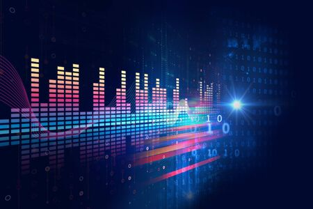 colorful Audio waveform abstract technology background ,represent digital equalizer technology 스톡 콘텐츠