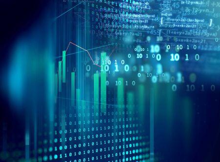 El gráfico financiero sobre la tecnología de fondo abstracto representa la crisis financiera, el colapso financiero