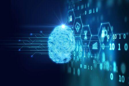 Sistema de identificación de escaneo de huellas dactilares. Autorización biométrica y concepto de seguridad empresarial. Foto de archivo