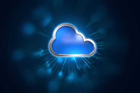 Cloud computing concept with copy space on a blue technology background
