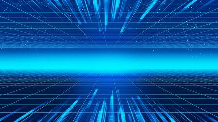 Ilustración 3d de estilo retro futurista de fondo 1980. Paisaje digital en un mundo cibernético. Para usar como portada de un álbum de música.
