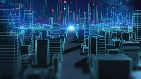 smart city and  Digital landscape in cyber world , internet of things, networks and  augmented reality concept  ,3d illustration