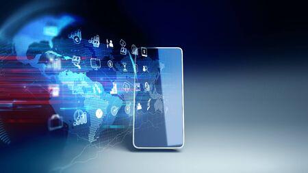 L'icône fintech et l'élément technologique sur le rendu 3d du téléphone mobile représentent le concept de technologie Internet financière Blockchain et Fintech Investment.