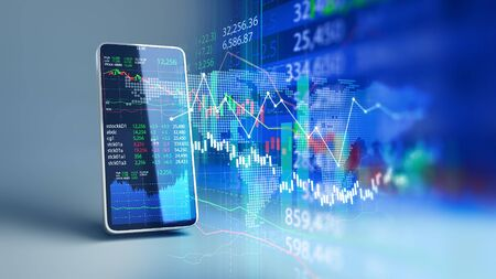 financial graph and technology element on mobile phone 3d rendering represent Blockchain and mobile Financial Investment .