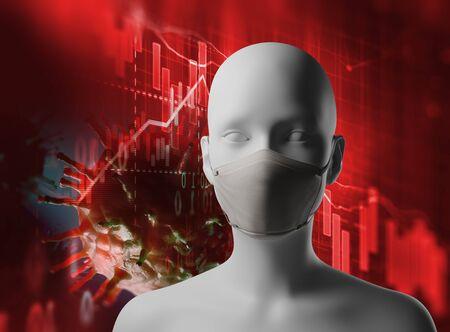 Microscope en gros plan sur le virus covid 19 et un masque humain sur le concept de graphique d'entreprise de crise économique.