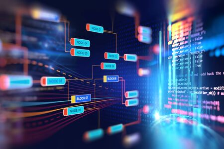 Abstract Futuristic infographic with Visual data complexity , represent Big data concept, node base programming Reklamní fotografie