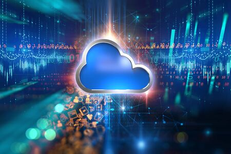 3d rendering of Cloud computing system icon on business and learning icon technology background