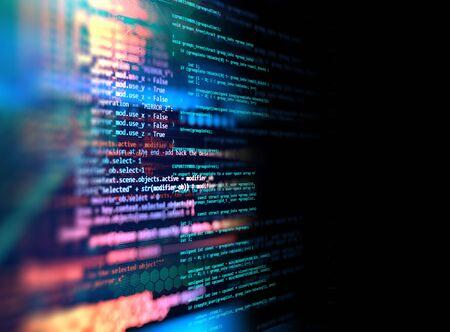 Fond de technologie abstrait de code de programmation du développeur de logiciels et du script informatique