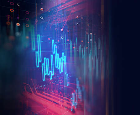 stock market investment graph on financial numbers abstract background.3d illustration,concept of business investment and crypto currency.3d illustration 免版税图像 - 152748616