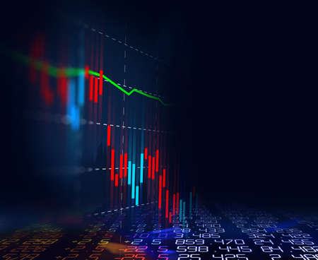 financial stock market graph on technology abstract background 免版税图像 - 151758727