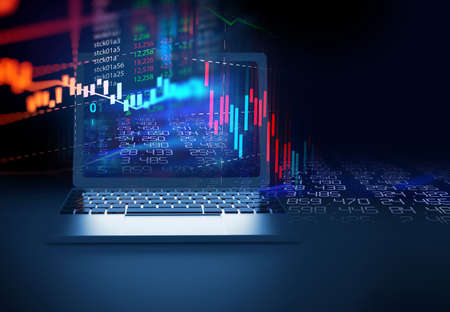 financial stock market graph on laptop screen represent   concept of business investment and stock future trading.