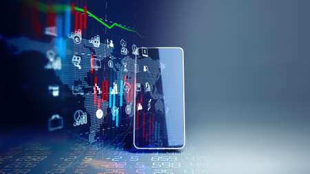 fintech icon and technology element on mobile phone 3d rendering  represent Blockchain and  Fintech Investment Financial Internet Technology Concept. 免版税图像 - 151758510
